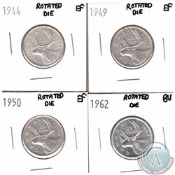 25-cent 1944 EF, 1949 EF, 1950 EF & 1962 BU Rotated Die Errors. Please see picture for degree of rot
