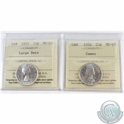 25-cent 1953 Large Date & 1956 Cameo ICCS Certified MS-65. 2pcs