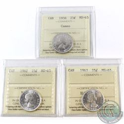 25-cent 1956 Cameo, 1962, 1963 ICCS Certified MS-65. All coins have a bright mint luster. 3pcs.
