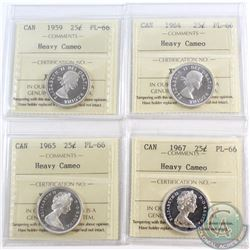 25-cent 1959, 1964, 1965, & 1967 ICCS Certified PL-66 Heavy Cameo. 4pcs.