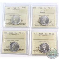 25-cent 1962, 1963 Cameo, 1965, & 1967 ICCS Certified MS-65. 4pcs.
