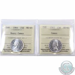 25-cent 1963 Cameo & 1964 Heavy Cameo ICCS Certified MS-65. 2pcs