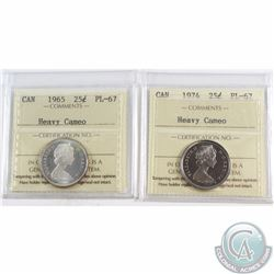 25-cent 1965 & 1974 ICCS Certified PL-67 Heavy Cameo. Both Coins are Tied for Finest Known by ICCS.