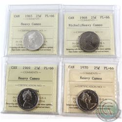 25-cent 1965, 1968 Nickel, 1969, 1970 ICCS Certified PL-66 Heavy Cameo. 4pcs.