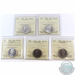 25-cent 1965, 1966, 1967, 1969, 1970 ICCS Certified MS-65. 5pcs.