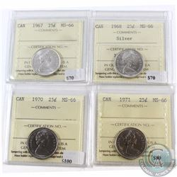 25-cent 1967, 1968 Silver, 1970, 1971 ICCS Certified MS-66. 4pcs.