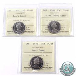 25-cent 1968 Nickel, 1969 & 1970 ICCS Certified PL-66 Heavy Cameo. 1969 is tied for Finest Known. 3p
