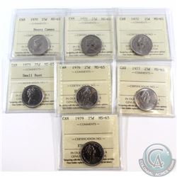 25-cent 1970 Heavy Cameo, 1971, 1972, 1973 Small Bust, 1976, 1977, 1979 ICCS Certified MS-65. 7pcs.
