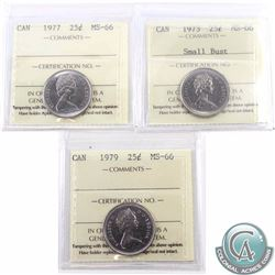 25-cent 1973 Small Bust, 1977 & 1979 ICCS Certified MS-66. 1973 Small Bust is tied for finest known.