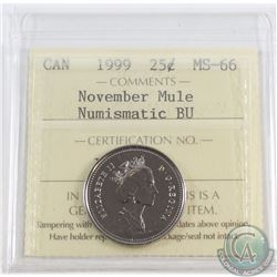 25-cent 1999 November Mule ICCS Certified MS-66 Numismatic BU