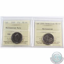 25-cent 2000 Millennium Mule MS-64 & 2000 Millennium Medallion MS-66 ICCS Certified. 2pcs.