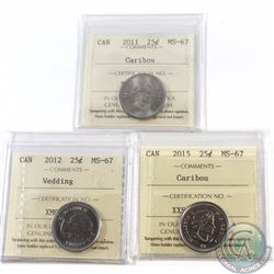 25-cent 2011 Caribou, 2012 Wedding, 2015 Caribou ICCS Certified MS-67. 3pcs.