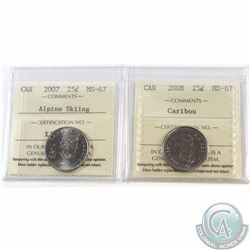 25-cent 2007 Alpine Skiing, 2008 Caribou ICCS Certified MS-67. Both Coins are tied for Finest known