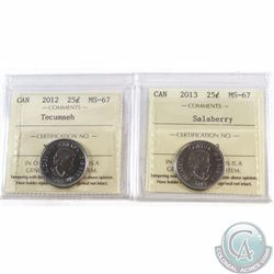 25-cent 2012 Tecumseh, 2013 Salaberry ICCS Certified MS-67. 2pcs.
