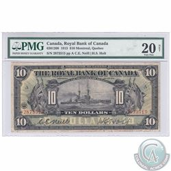630-12-08. 1913 Royal Bank of Canada $10, Neill-Holt, S/N: 2873515/A, PMG Certified VF-20, NET