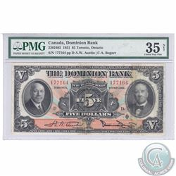 220-24-02. 1931 Dominion Bank $5, Bogert-Austin, S/N: 177164/D, PMG Certified VF-35, NET (Foreign Su