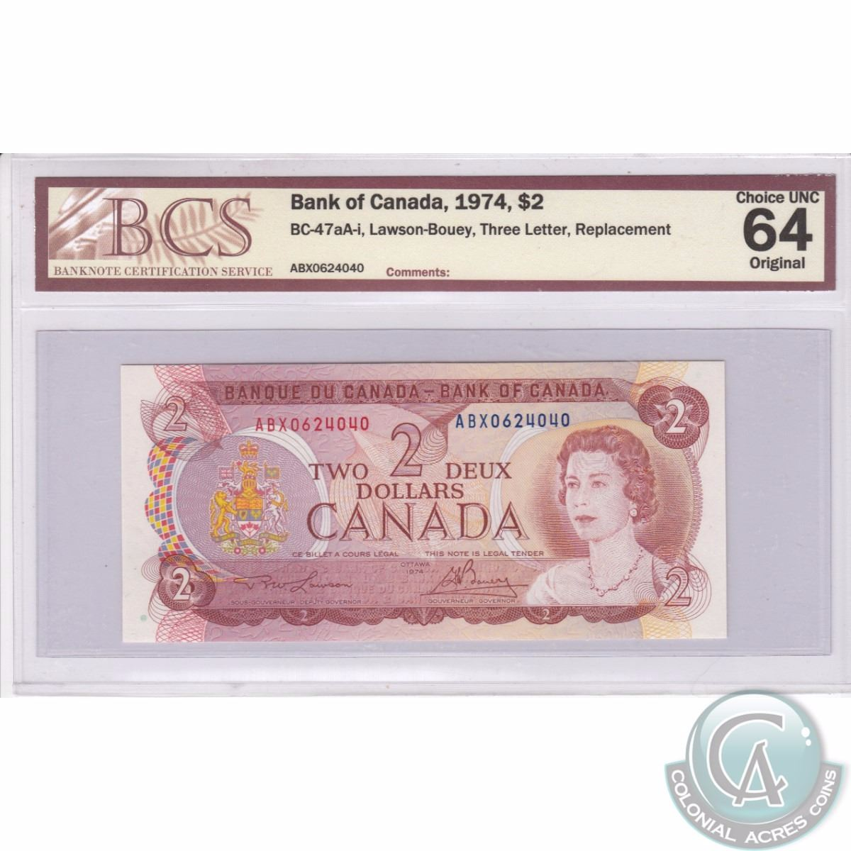 Bc 47aa I 1974 Bank Of Canada Replacement 2 Lawson Bouey S N