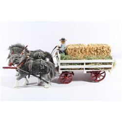 Vintage Wooden Horses & Hay Carriage Toy