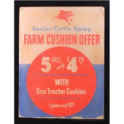 Mobil Oil Sanilac Cattle Spray Advertising Sign