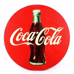 Coca Cola Large Round Metal Sign w/ Bottle 45.5""