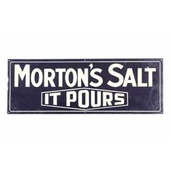 Original Morton Salt Tin Advertising Sign