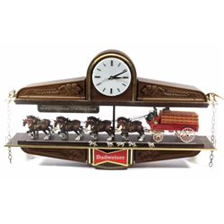 Budweiser Hanging Beer Clydesdale Clock Sign