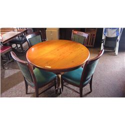 "Round Hardwood Table (47"" dia) w/Carved Pedestal Base & Clawfoot Detail, 4 Chairs"