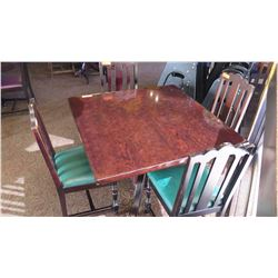 "Square Hardwood Table (42x42) w/Carved Pedestal Base & Clawfoot Detail, 4 Chairs (38""H)"