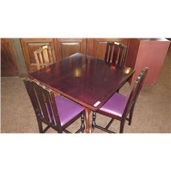 Square Hardwood Table w/Carved Pedestal Base & Clawfoot Detail, 4 Chairs