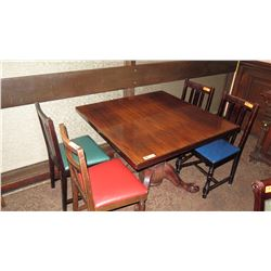 "Square Hardwood Table (42x42) w/Carved Pedestal Base & Clawfoot Detail, 4 Chairs 17""W"