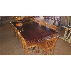 Large Dining Table (8ft x 4ft) w/Carved Pedestal Base & Clawfoot Detail, 10 Chairs