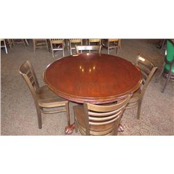 Round Hardwood Table (46.5 dia) w/Carved Pedestal Base, Clawfoot Detail, 4 Chairs