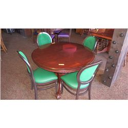 Round Hardwood Table (4' dia) w/ Carved Pedestal Base, Clawfoot Detail, 4 Wood Chairs