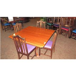 Round Hardwood Table (4' dia.) w/ Carved Pedestal Base, Clawfoot Detail, 4 Hi-Back Chairs