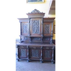 "Large-Scale Ornate Carved Hutch (Two Pieces) - Dark Wood (7 ft x 32"" depth x 9 ft H)"
