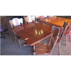 Square Hardwood Table (4ft x 4ft) w/Carved Pedestal Base & Clawfoot Detail, 4 Chairs