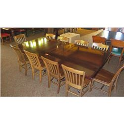 Large Hardwood Rectangular Table (8ft L x 4ft) w/Carved Pedestal Base, 10 Chairs