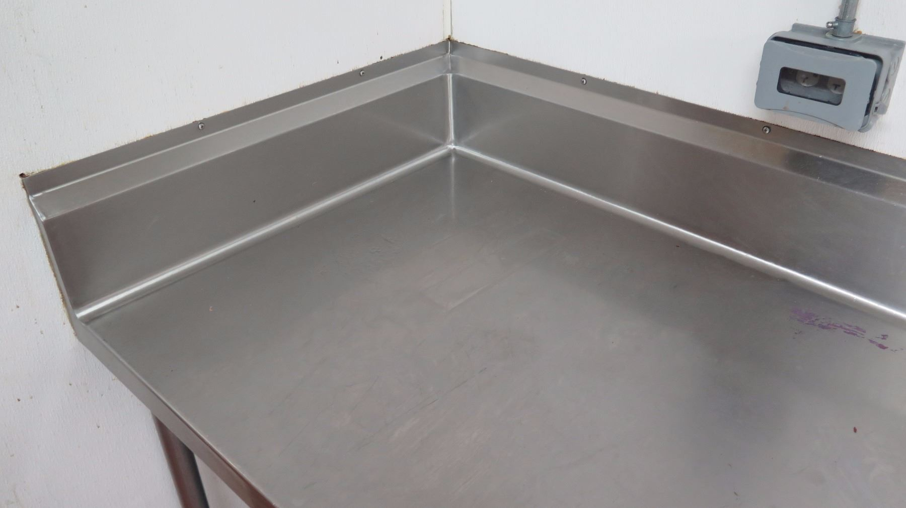 Stainless Steel Corner Table Image Collections Bar Height Dining - Stainless steel table with backsplash and sides