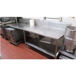 "Stainless Steel Prep Table w/Undershelf & Backsplash (116""L x 35""W x 42"" H)"