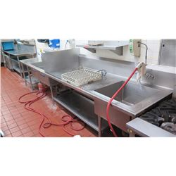 2-Segment Washing Stations (One w/1-Compartment & Undershelf, One w/2-Basin Sink) 14ftx34