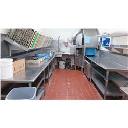 Stero Corner Commercial Conveyer Dishwashing System: Dish Machine Conveyor Unit, Dish Table w/Spraye