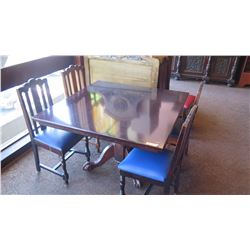 Square Hardwood Table (4ft x 4ft) w/Carved Pedestal Base, Ball and Claw Detail, 4 Chairs