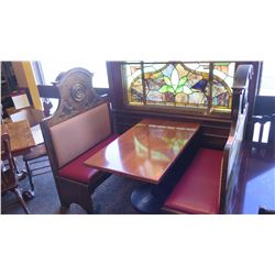 Rectangular Wood Table (48x30) w/Metal Base, 2 Carved Wooden Banquette Seats (45x20x58)