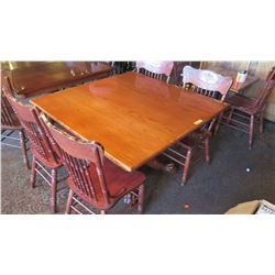 Square Hardwood Table (4ft x 4ft) w/Carved Pedestal Base, Clawfoot Detail, 4 Hi-Back Chairs