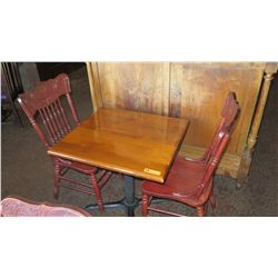 Hardwood Table (30 x 27) w/ Metal Base, 2 Carved Hi-Back Wooden Chairs