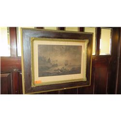 Old Framed Print: Black and White (Anchored Ships/Sinking Ships at Bay), Gilt Frame
