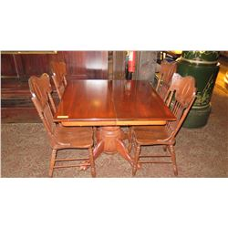 Square Hardwood Table (42 x 42) w/Carved Pedestal Base, Clawfoot Detail, 4 Hi-Back Chairs