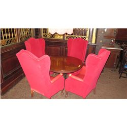 "Round Table (35"" dia) w/Pedestal Base, Claw Feet & 4 'High-Drama' Red Velvet Wing Chairs (51"" H)"