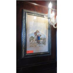 Framed Watercolor 'Pioneer Couple', (Artist Serafino?) 17x24 Black GildedFrame