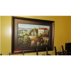 Framed Original Oil Painting: 'Tuscan Homes' (Artist Degos?) 47x35, Brown Frame